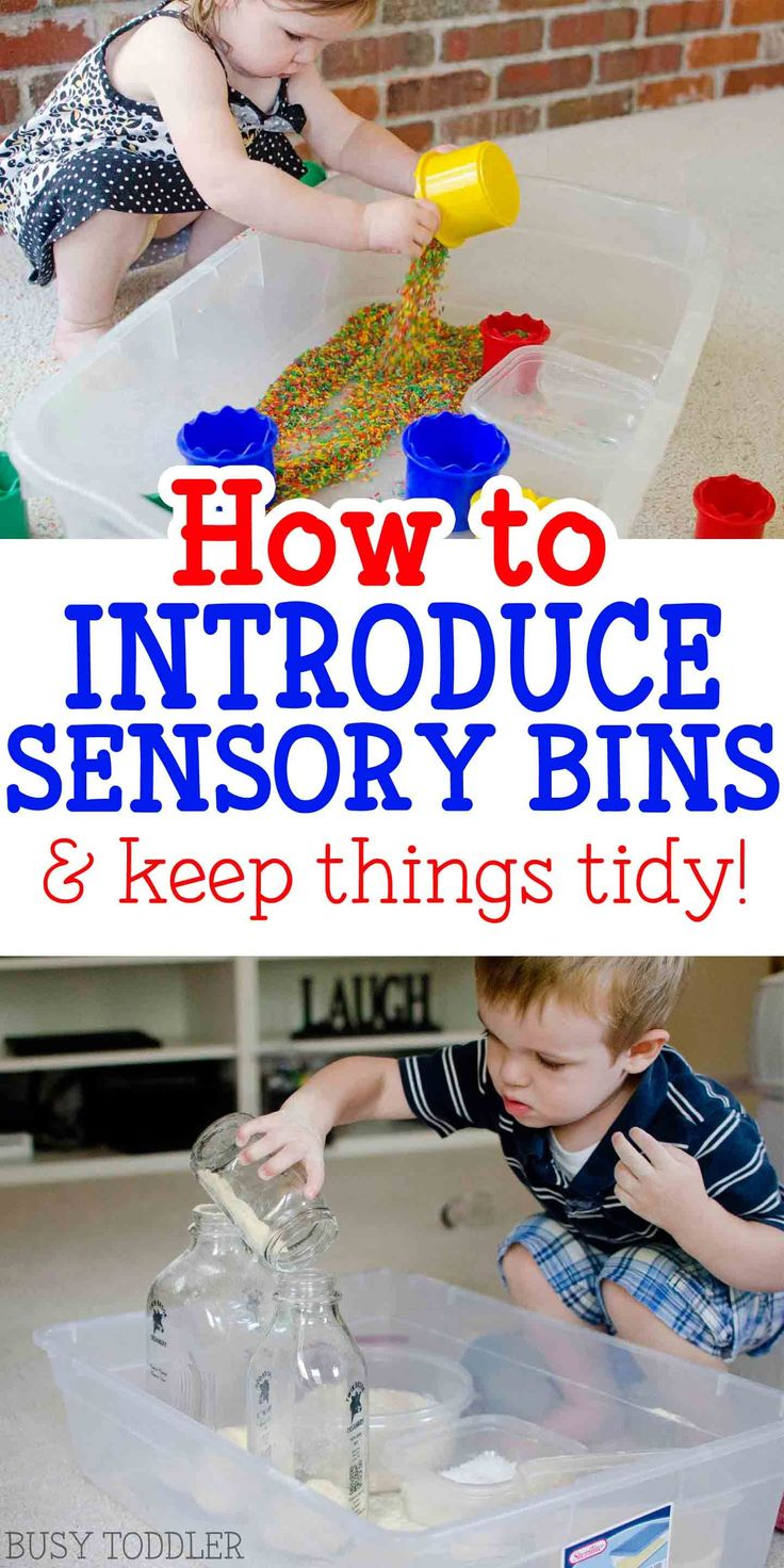 Introducing toddlers to sensory bins & how to keep things tidy! Check out these great tips and tricks for introducing toddlers to sensory bins.