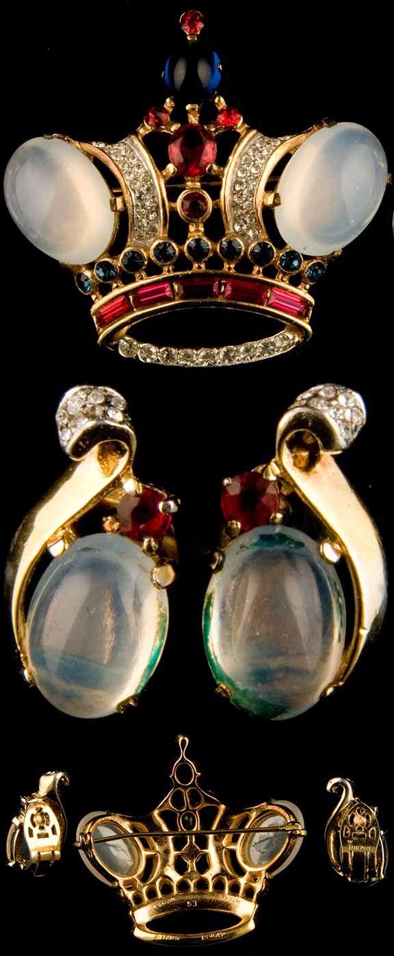 1944 Trifari Sterling Moonstone Crown Brooch Amp Earrings