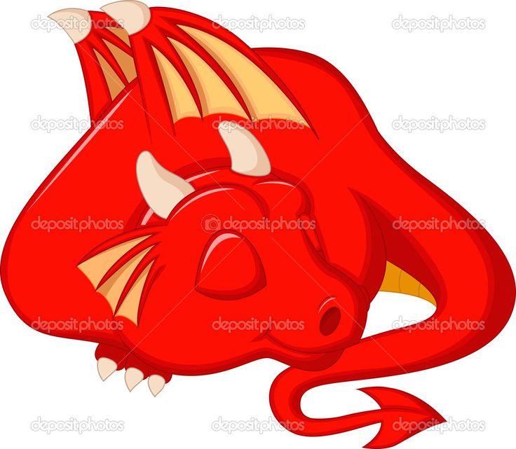 Baixar - Dragão vermelho bonito dos desenhos animados dormindo — Ilustração de Stock #35528077