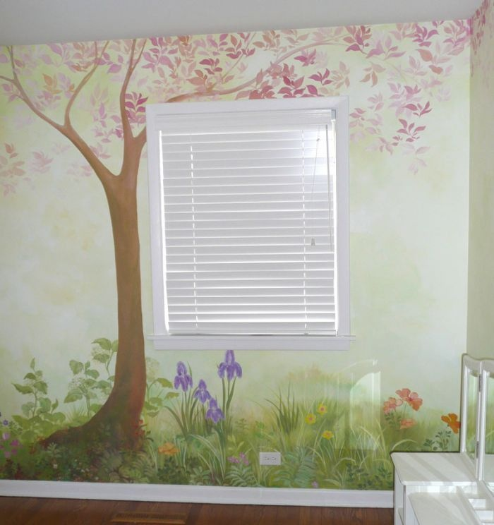 Mother Goose Nursery Walls. Garden Pink Tree