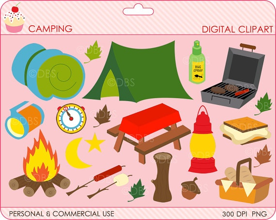 Digital Clipart Camping Clip Art Outside Woods By DigitalBakeShop 500