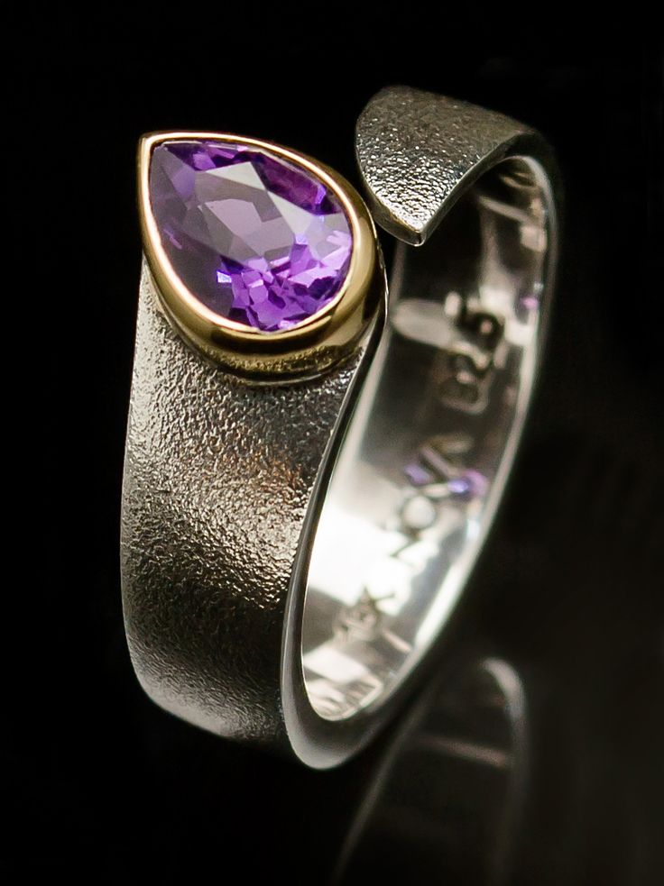 Sterling Silver ring with 18k Yellow Gold and Amethyst.  Nova Collection Chiang Mai etsy.me/1wGyCtb