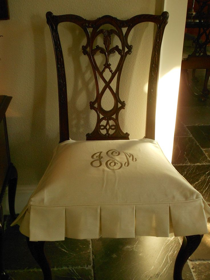 My Faux French Chateau: Custom Monogrammed Dining Room Chair Slipcovers!