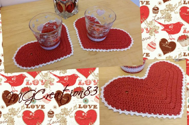 CROCHET PATTERN: heart coaster for a romantic coffee break, you should have to make it!! Contact me for more informations!