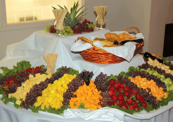 Fruit, cheese, cracker and breadstick station. I want this at my wedding but slightly smaller!