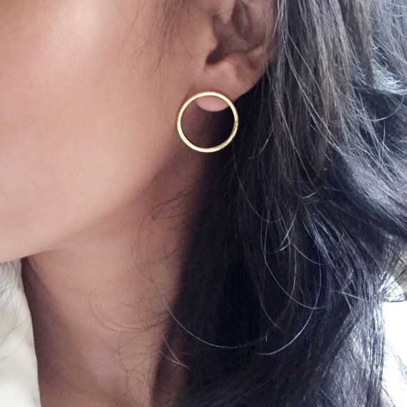 Karen Open Circle Ohrstecker – Medium Minimalist Circle Ohrstecker – Sterling Silber Ohrringe, 14 Karat Gold Vermeil, 14 Karat Rotgold Vermeil