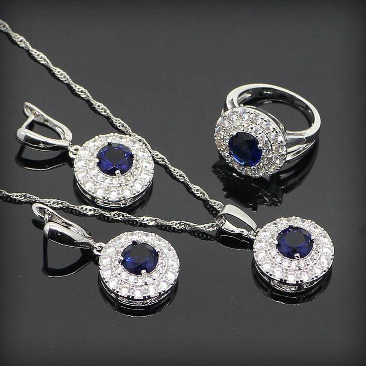 Blue Sapphire White Topaz Surrounded Jewelry Sets For Women Sterling Silver Earrings/Pendant/Necklace/Rings Free Gift Box www.bernysjewels.com #bernysjewels #jewels #jewelry #nice #bags