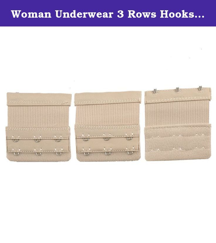 Woman Underwear 3 Rows Hooks Stretchy Bra Strap Extender Beige 3 Pcs. 3 x 3 positions hooks, stretchy, adjustable length, fit for most size bra. The Bra Hook Extender will increase the length of your bra band for added inches of comfort. Hook and eye design, easy to use. .