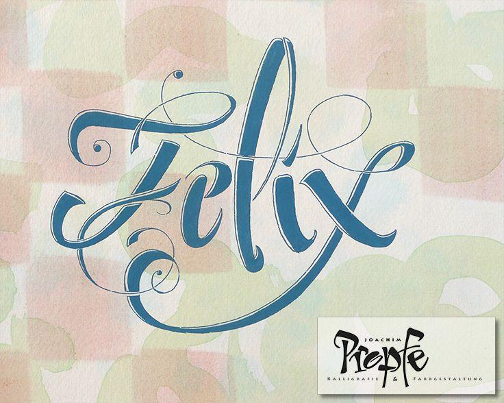Felix, schwungvoll gestaltet, auf einem handkolorierten Hintergrund auf hochwertigem Aquarellpapier.