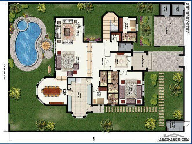 مخطط فيلا بوابة الشرق مدخلك الى عالم التميز Square House Plans House Layout Plans Architectural House Plans