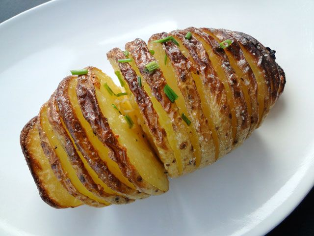Orgasmic twist on a baked potato - the Hasselbacken! (Named for the Stockholm restaurant it was first served at.)