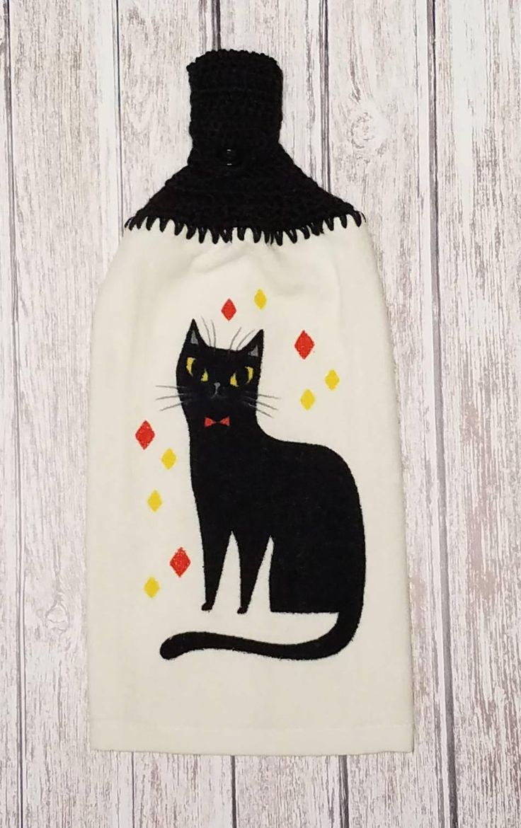 Crochet Top Hanging Kitchen Towel Crocheted Towel Topper Black Cat Button Top Towel Kitty cat Dish Towel Cat Lover Gift Housewarming Gift by littledarlynns on Etsy