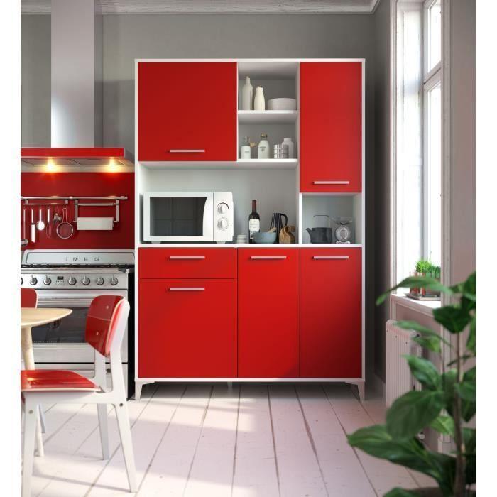 Eco Buffet De Cuisine L 120 Cm Rouge Mat En 2020 Buffet Cuisine Cuisine Vintage Et Cuisine Contemporaine Blanche