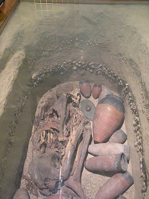 Predynastic Egyptian burial.  Next to her head is her palette and stone most likely used for cosmetics.