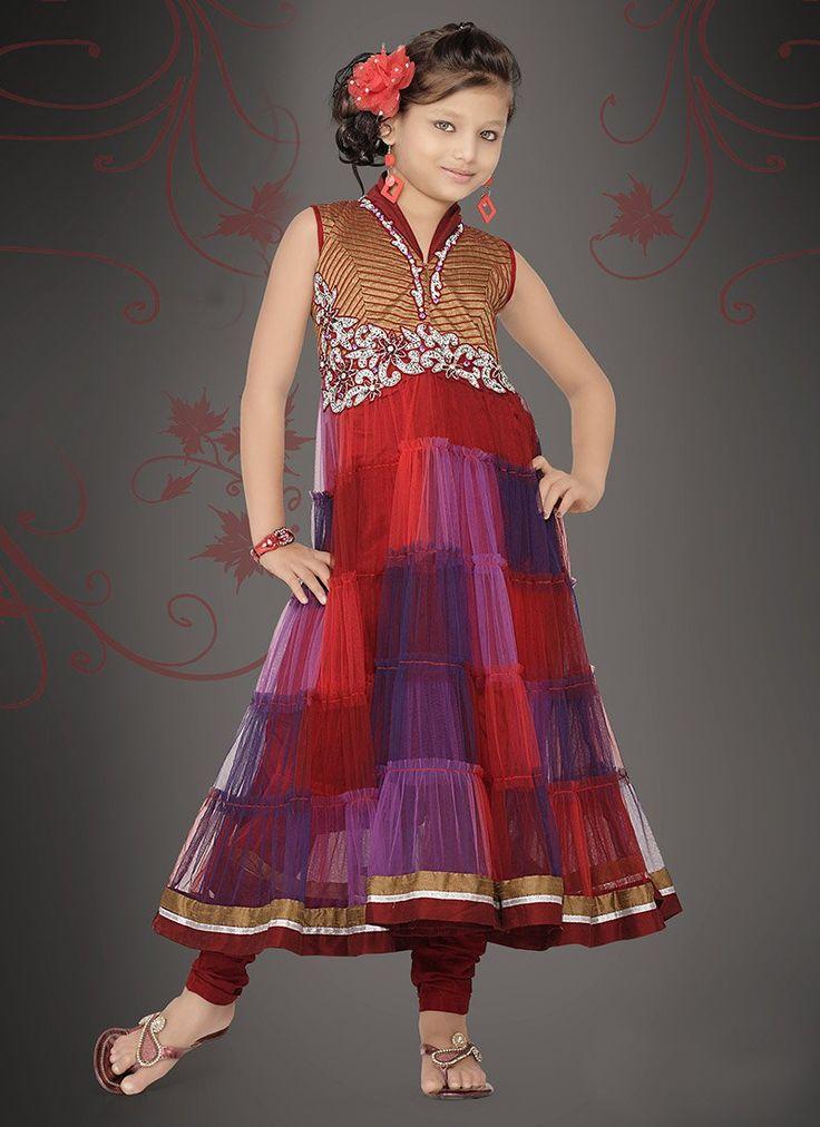 Multicolored Net Kids Anarkali Suit