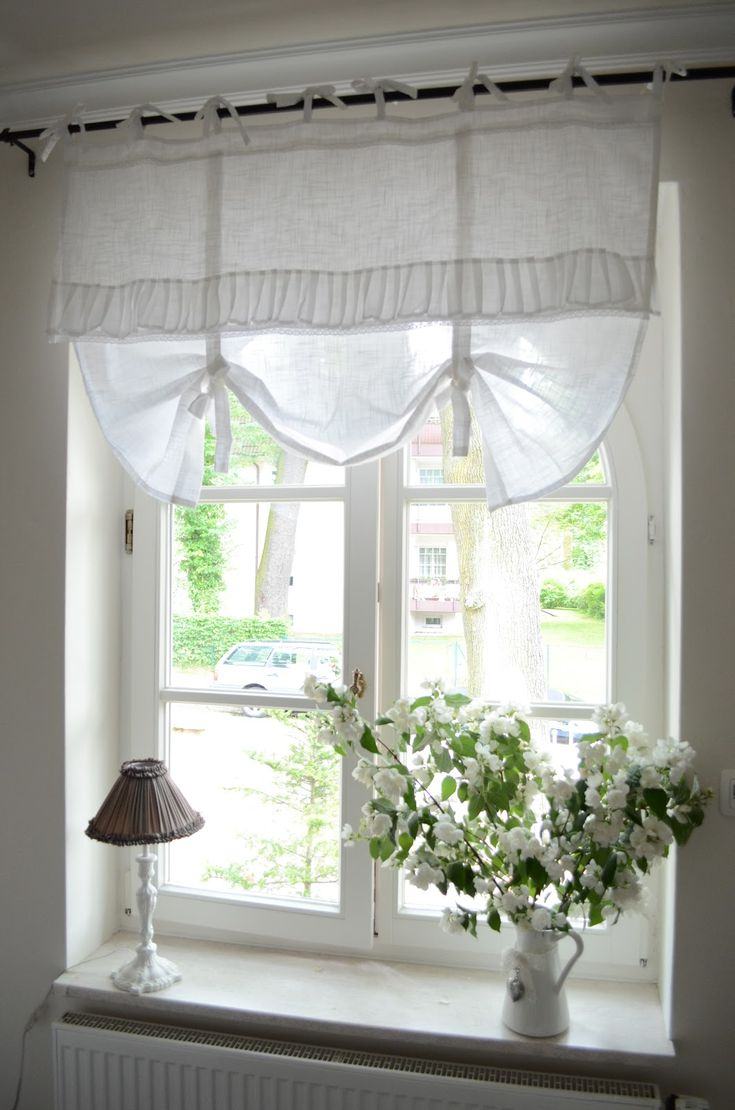 Bedroom window treatment white grey black chippy - Country kitchen curtain ideas ...