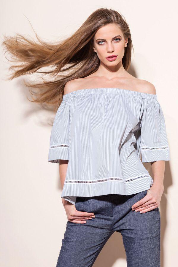 FRASE blusa rigata c/spalline staccabili, EAGLE pantalone zampa misto lino