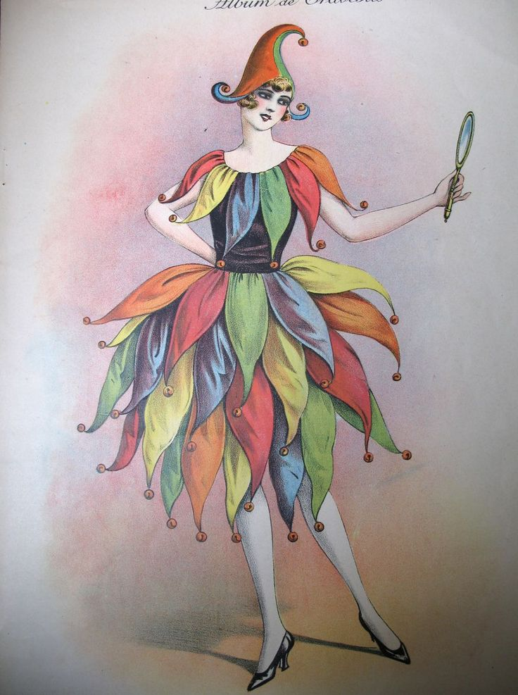 Vintage 20s French Art DECO Print Litho LADY in Harlequin Costume from nicole-la-bay on Ruby Lane