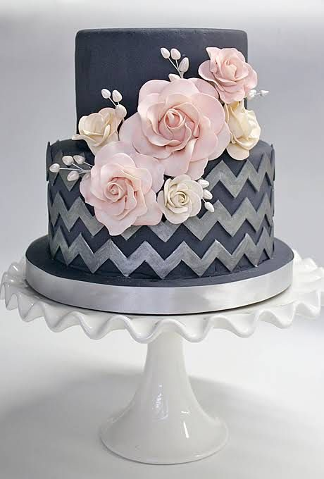 A Navy Blue Wedding Cake with Silver Chevron and Pink Flowers by Coco Paloma Desserts