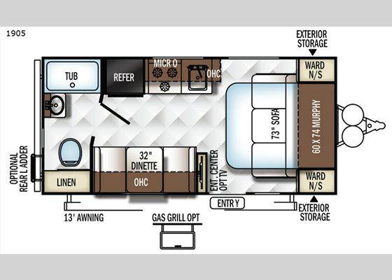 Floorplan - 2017 Rockwood Mini Lite 1905 Travel Trailer