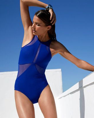 JETS by Jessika Allen High-Neck One-Piece Swimsuit W/ Mesh Inserts, Oceanic