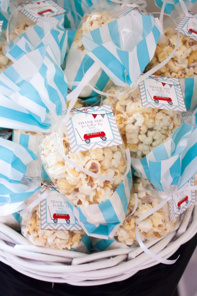 Rohen's Little Red Wagon First Birthday Party | Southern Made Blog | I loved this fun Little Red Wagon first birthday party for Rohen! These popcorn goody bags were perfect!