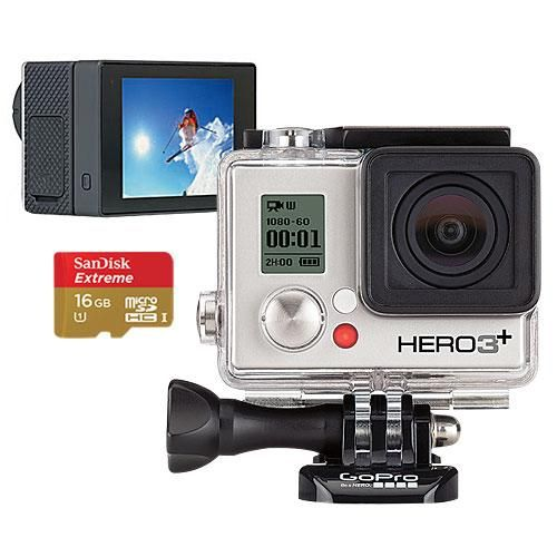 GoPro Hero3+ Silver Edition Camera, GoPro LCD Touch BacPac & 16GB Memory Card - largeImage