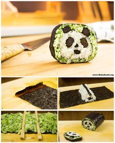 Panda Sushi Roll Art! Recipe tutorial here: