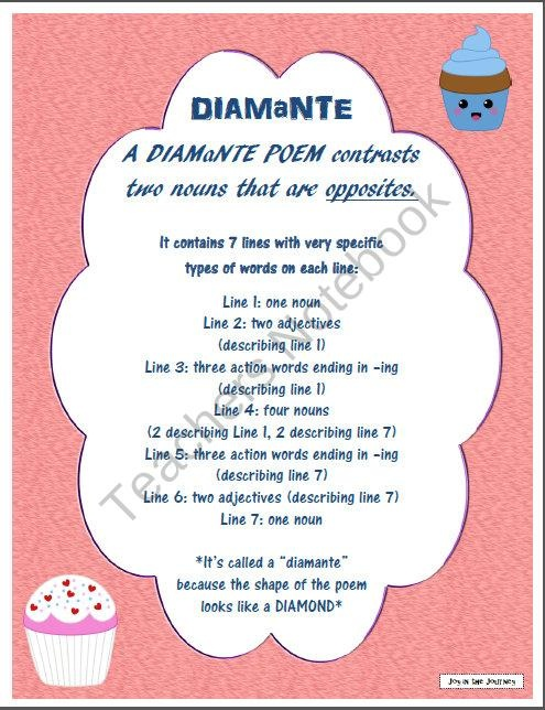 diamante poetry activity packet from joy in the journey on