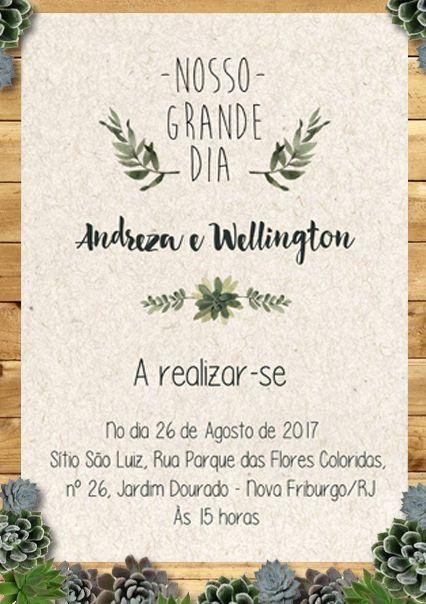 Noiva Plugada: Download | Convite de Casamento Suculentas