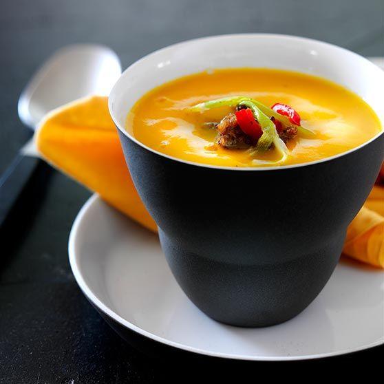 Mættende græskarsuppe med fars -http://www.dansukker.dk/dk/opskrifter/maettende-graeskarsuppe-med-fars.aspx #dansukker #opskrift #græskar #suppe #fars #aftensmad #lækkert #spis #eat #snack #måltid