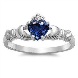 Blue Sapphire Silver Claddagh Ring-would be good idea to give to one of my bffs
