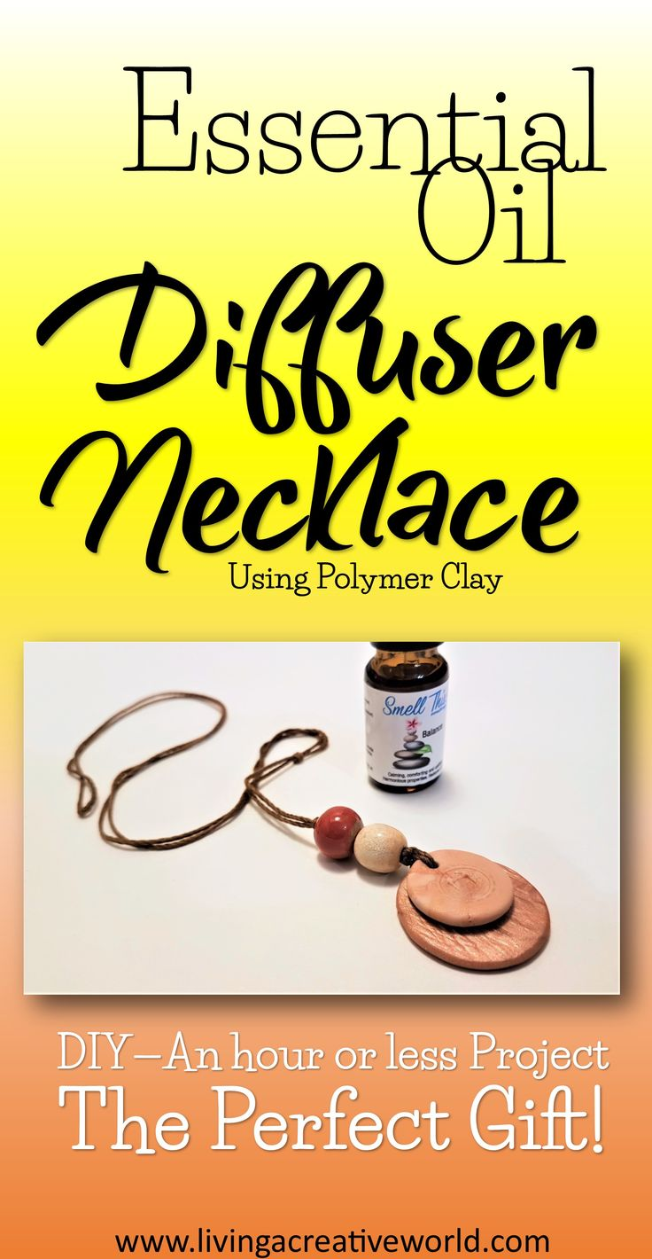 DIY Polymer clay essential oil diffuser necklace. The perfect gift for yourself or someone special! #polymerclay #diy #essentialoil #necklace #aromatherapy