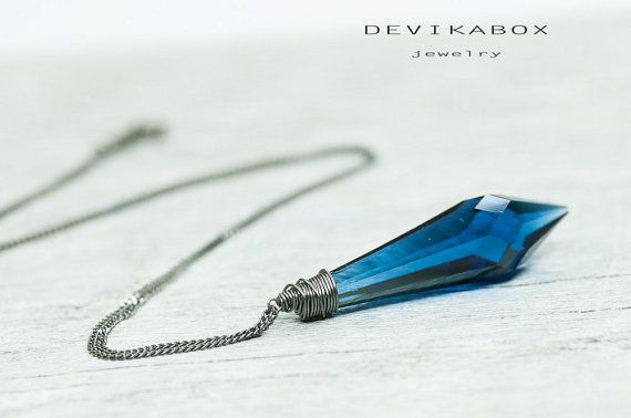 Blue Sapphire Necklace Blue Crystal Necklace Blue by DevikaBox