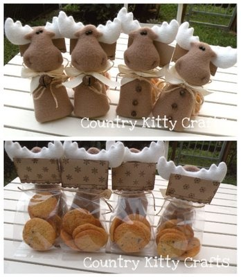 Christmas buiscits in a lovely handmade goody bag