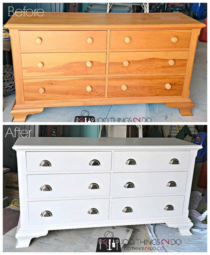 Dresser makeover, before and after dresser, painted dresser, pine dresser, refinished dresser
