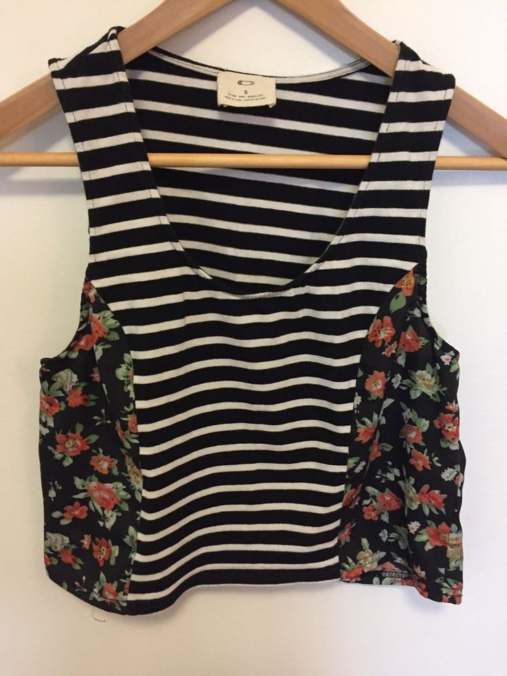 Urban Outfitters Pins and Needles Women s Small S Crop Top Tank Black White | eBay
