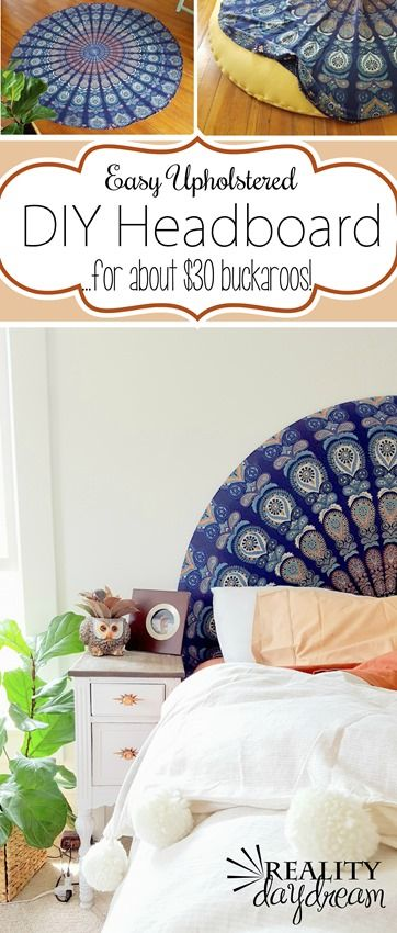 SUPER SIMPLE upholstered headboard using a round tapestry! {Reality Daydream} #boho #bedroom #rounded