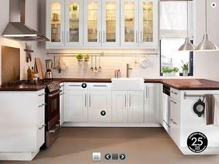 white cabinets, butcher block countertop