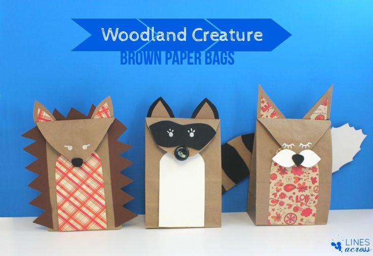 Woodland Creature Brown Paper Bags via Lines Across #papercraft #kids