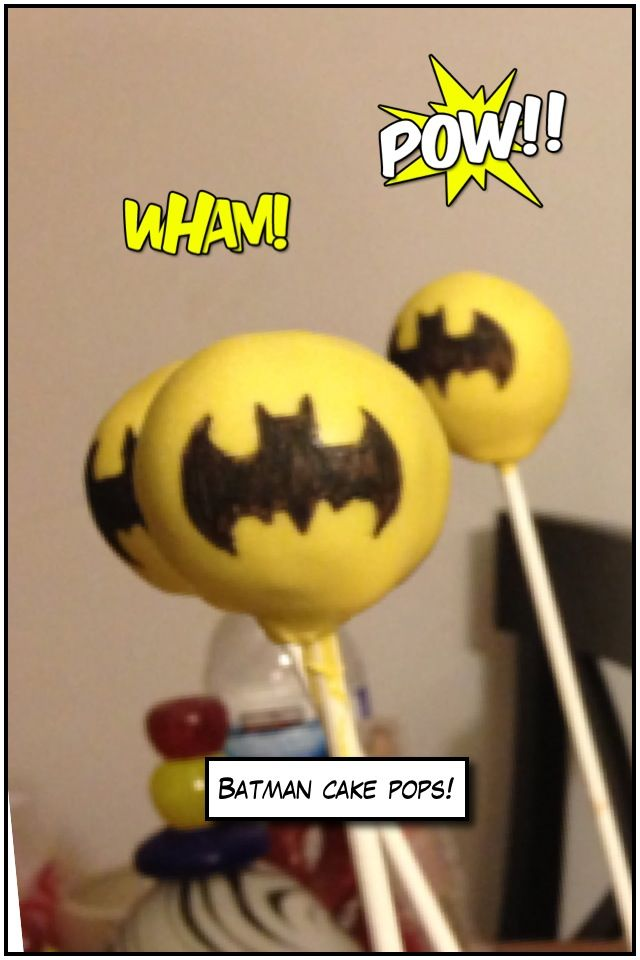 Batman logo cake pops