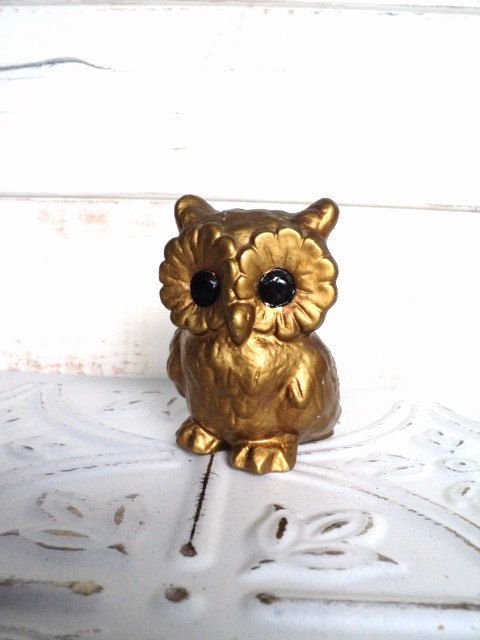 Norcrest Owl Figurine Gold 3 inch Vintage with Black eyes. $15.00, via Etsy.