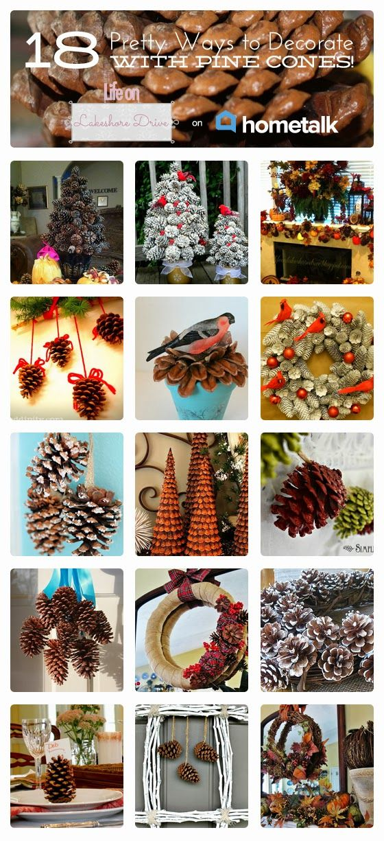 18 Pretty Ways to Decorate with Pine Cones | curated by 'Life on Lakeshore Drive' blog!
