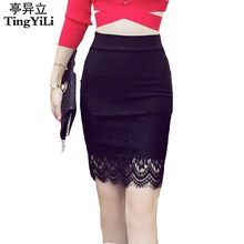 TingYiLi S-5XL Плюс размер юбка черный карандаш Bodycon Lace Tight Sexy Мини-юбка Юбки Женская весна-лето (Китай (материк))