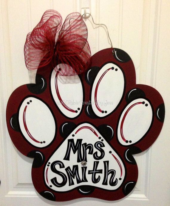 Hey, I found this really awesome Etsy listing at https://www.etsy.com/listing/219780173/paw-print-paw-door-hanger-door-hanger