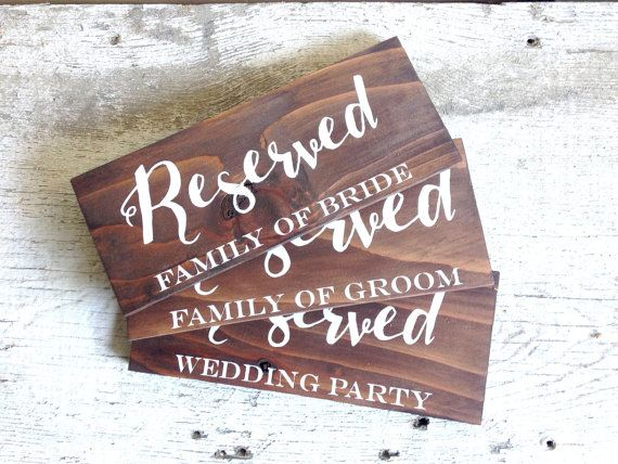 This rustic wooden reserved sign can be used in multiple ways, either during your ceremony to block off VIP seating or at your wedding reception to hold tables for your bridal party and immediate family.