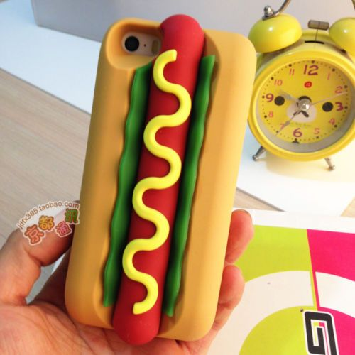3D soft sponge bread hamburger Hotdog Silicone case Cover For Apple iphone 5 5s