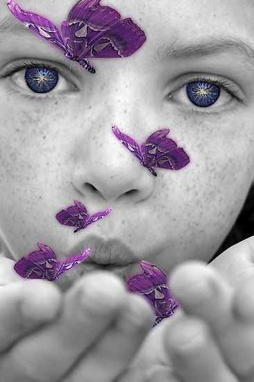 I love thisBlack Children Photography, Mothers Earth, Colors Photography, Birthday Wish, Perfect Purple, Blue Eye, Purple Butterfliesart, Colors Splashes, Butterflies Kisses