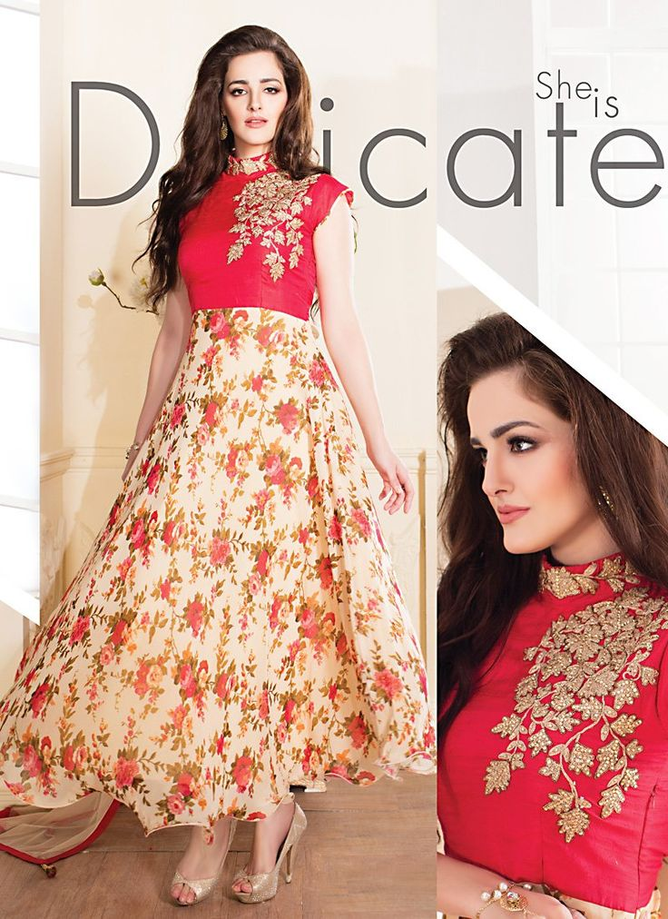 Georgette & Raw Silk Fabric with Resham Work Appealing Readymade Salwar Kameez - IFTE073B019BK | Indian Trendz