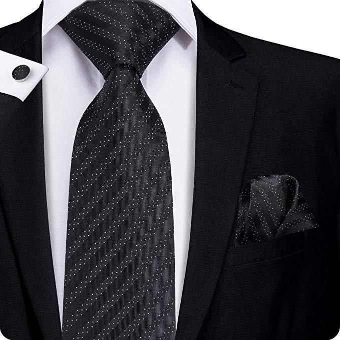 Formal Party Wedding Neck Tie Check Textured Polyester Bow Tie Pocket Square Set
